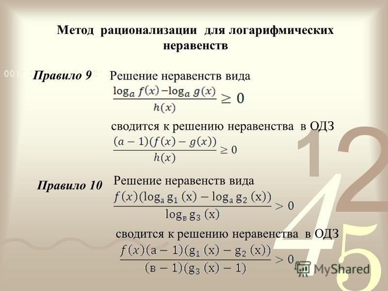 Метод рационализации для логарифмических неравенств Решение неравенств вида сводится к решению неравенства в ОДЗ Правило 9 Правило 10 Решение неравенств вида сводится к решению неравенства в ОДЗ