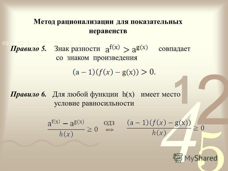 Правило 5. Знак разности совпадает со знаком произведения Правило 6. Для любой функции h(х) имеет место условие равносильности Метод рационализации для показательных неравенств ОДЗ