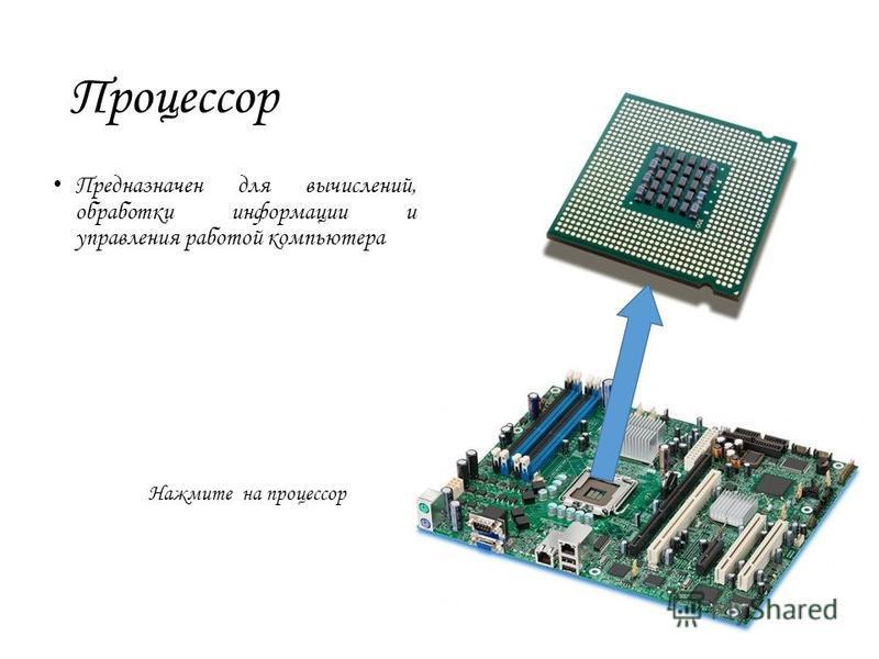 Процессор Предназначен для вычислений, обработки информации и управления работой компьютера Нажмите на процессор