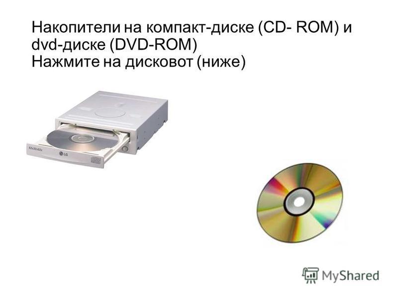 Накопители на компакт-диске (CD- ROM) и dvd-диске (DVD-ROM) Нажмите на дисковод (ниже)