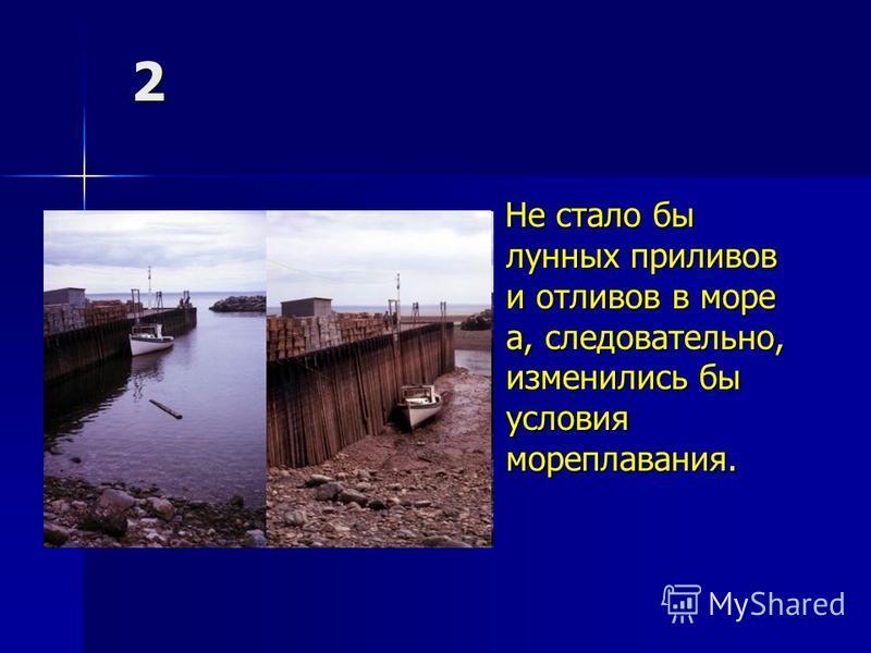2 Не стало бы лунных приливов и отливов в море а, следовательно, изменились бы условия мореплавания. Не стало бы лунных приливов и отливов в море а, следовательно, изменились бы условия мореплавания.