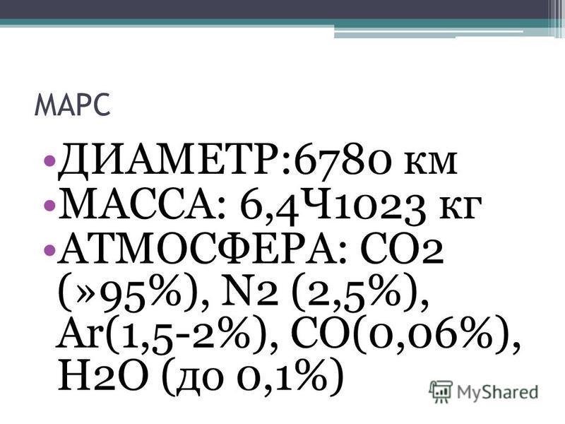 ДИАМЕТР:6780 км МАССА: 6,4Ч1023 кг АТМОСФЕРА: СО2 (»95%), N2 (2,5%), Ar(1,5-2%), СО(0,06%), Н2О (до 0,1%)