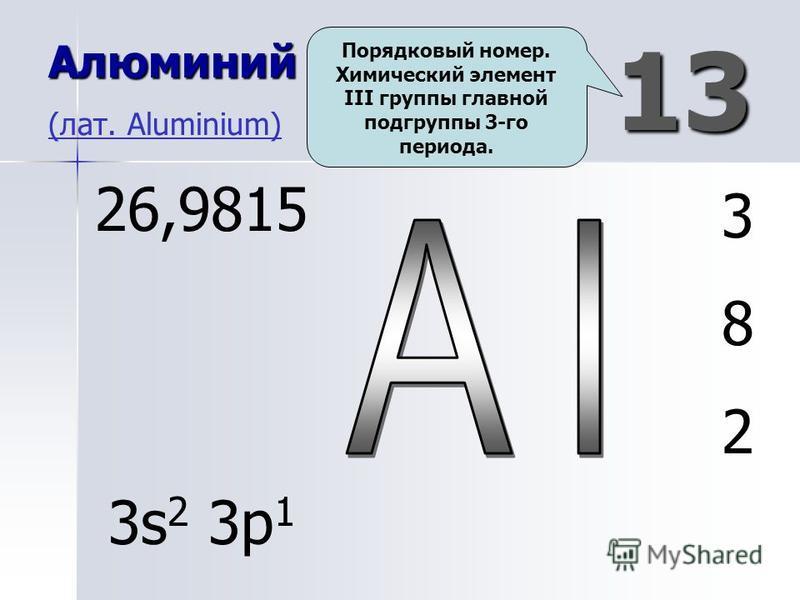 13 Алюминий Алюминий (лат. Aluminium) (лат. Aluminium) 382382 26,9815 3s 2 3p 1 Порядковый номер. Химический элемент III группы главной подгруппы 3-го периода.