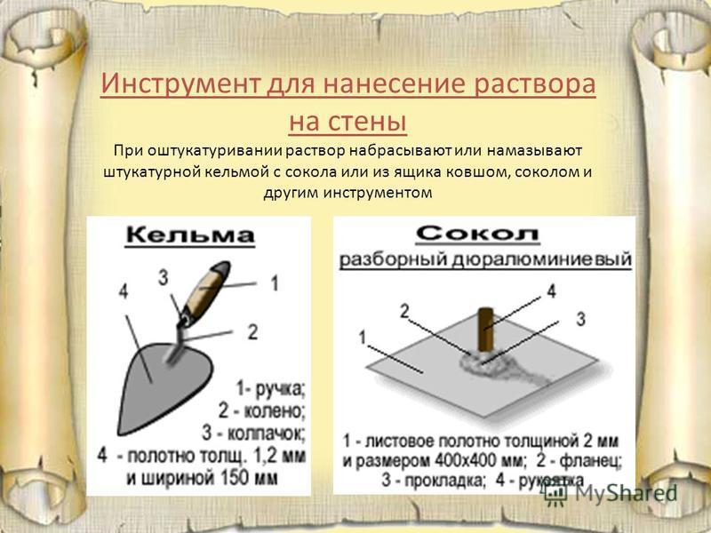 Инструмент для нанесение раствора на стены При оштукатуривании раствор набрасывают или намазывают штукатурной кельмой с сокола или из ящика ковшом, соколом и другим инструментом