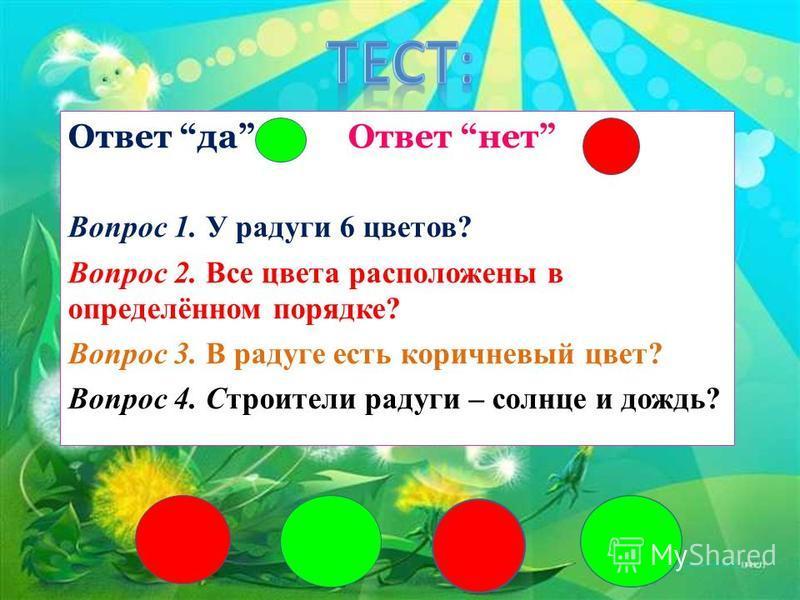 Ответ да Ответ нет Вопрос 1. У радуги 6 цветов? Вопрос 2. Все цвета расположены в определённом порядке? Вопрос 3. В радуге есть коричневый цвет? Вопрос 4. Строители радуги – солнце и дождь?