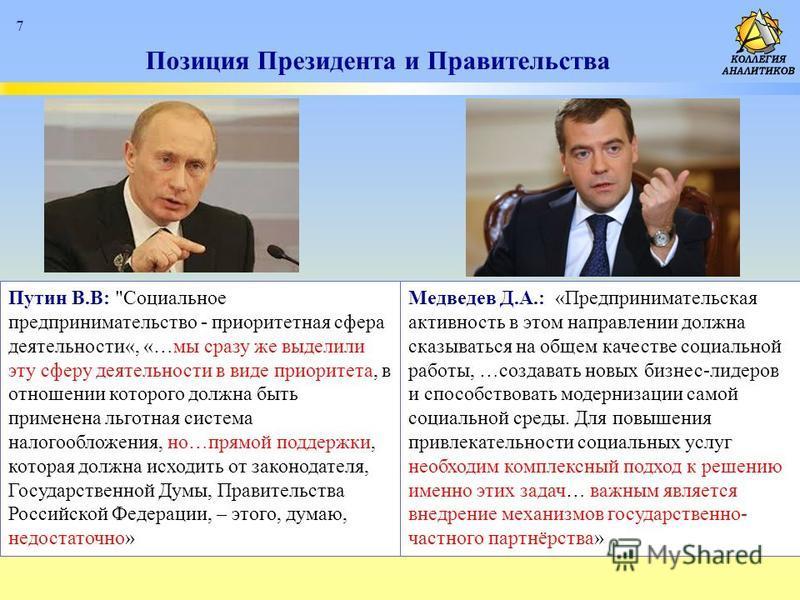Позиция Президента и Правительства 7 Путин В.В: