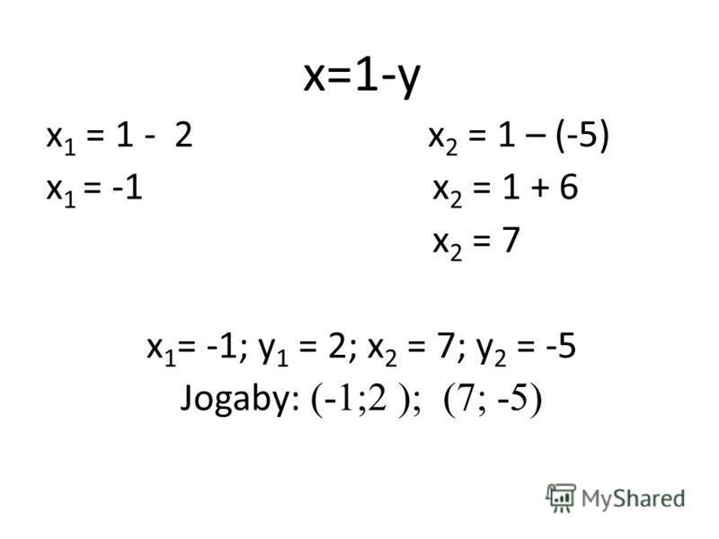 x=1-y x 1 = 1 - 2 x 2 = 1 – (-5) x 1 = -1 x 2 = 1 + 6 x 2 = 7 x 1 = -1; y 1 = 2; x 2 = 7; y 2 = -5 Jogaby: (-1;2 ); (7; -5)