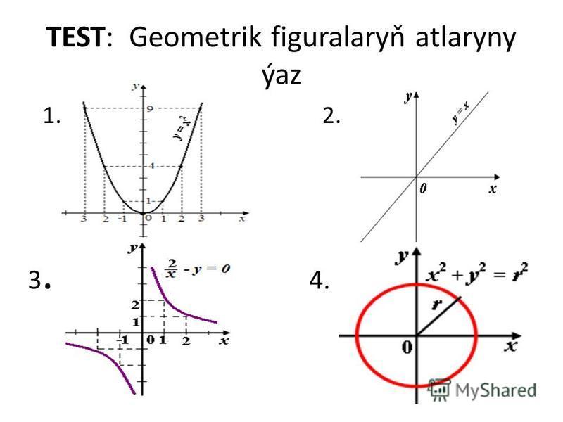 TEST: Geometrik figuralaryň atlaryny ýaz 1. 2. 3. 4.