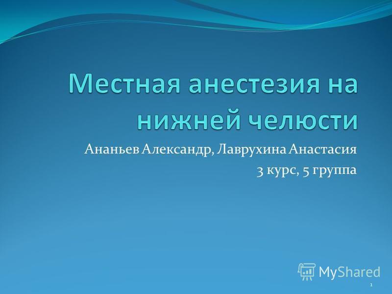 Ананьев Александр, Лаврухина Анастасия 3 курс, 5 группа 1
