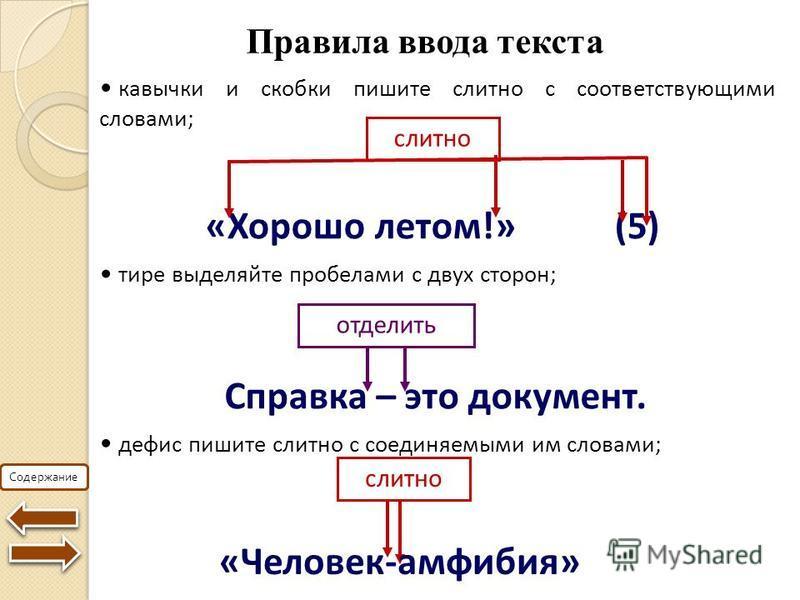 Содержание Правила ввода текста «Хорошо летом!» (5) слитно кавычки и скобки пишите слитно с соответствующими словами; тире выделяйте пробелами с двух сторон; Справка – это документ. отделить дефис пишите слитно с соединяемыми им словами; слитно «Чело