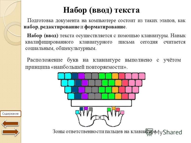 Содержание Набор (ввод) текста Подготовка документа на компьютере состоит из таких этапов, как набор, редактирование и форматирование. Набор (ввод) текста осуществляется с помощью клавиатуры. Навык квалифицированного клавиатурного письма сегодня счит