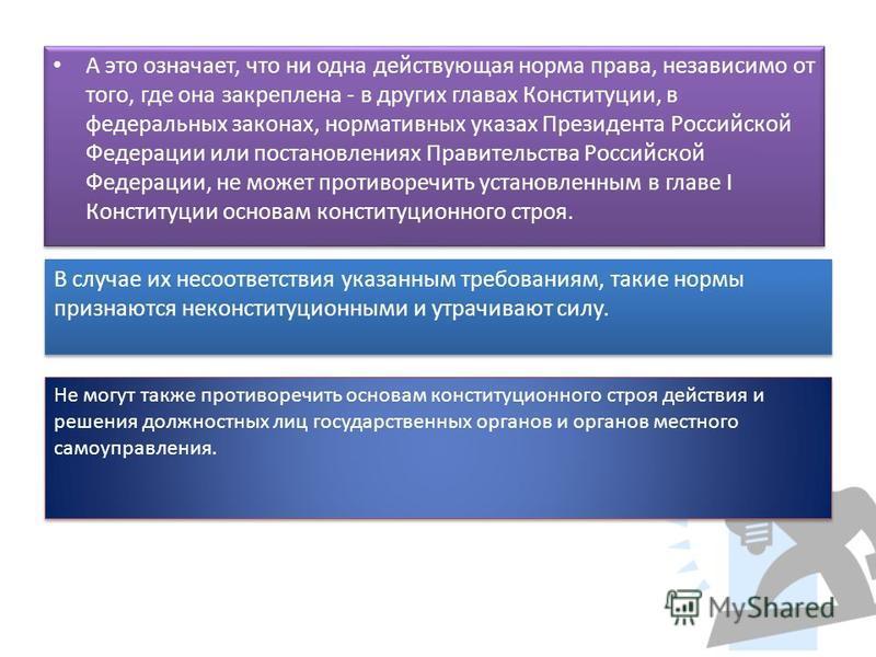 А это означает, что ни одна действующая норма права, независимо от того, где она закреплена - в других главах Конституции, в федеральных законах, нормативных указах Президента Российской Федерации или постановлениях Правительства Российской Федерации