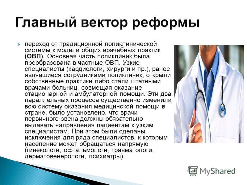 переход от традиционной поликлинической системы к модели общих врачебных практик (ОВП). Основная часть поликлиник была преобразована в частные ОВП. Узкие специалисты (кардиологи, хирурги и пр.), ранее являвшиеся сотрудниками поликлиник, открыли собст