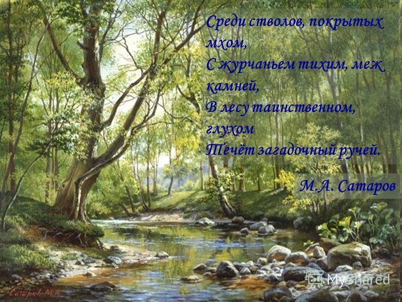 М.А. Сатаров Среди стволов, покрытых мхом, С журчаньем тихим, меж камней, В лесу таинственном, глухом Течёт загадочный ручей.