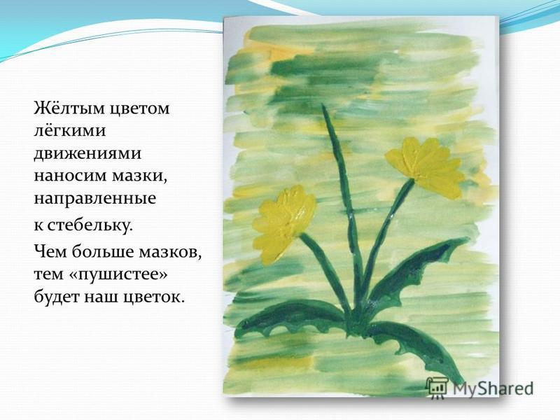 Жёлтым цветом лёгкими движениями наносим мазки, направленные к стебельку. Чем больше мазков, тем «пушистее» будет наш цветок.