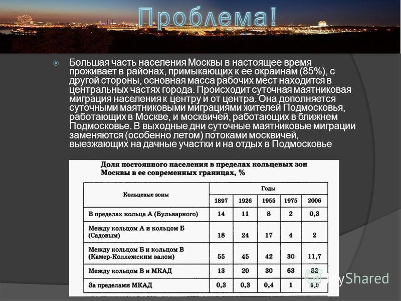Большая часть населения Москвы в настоящее время проживает в районах, примыкающих к ее окраинам (85%), с другой стороны, основная масса рабочих мест находится в центральных частях города. Происходит суточная маятниковая миграция населения к центру и
