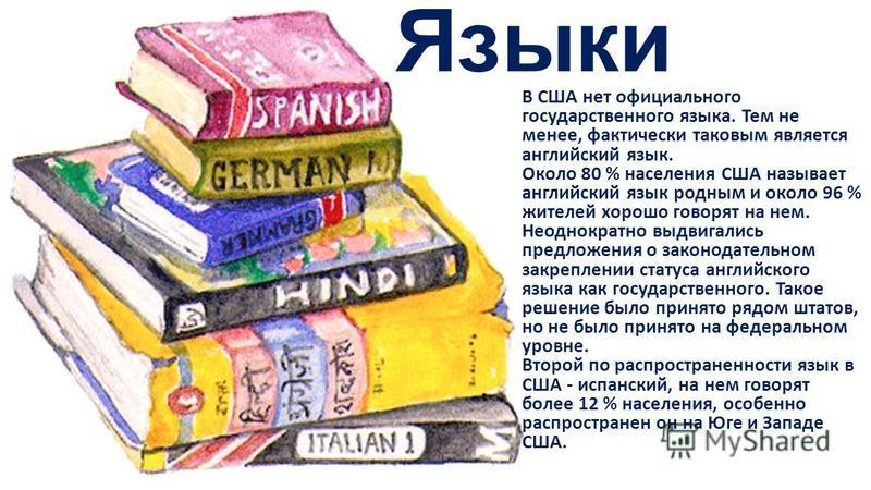 Языки В США нет официального государственного языка. Тем не менее, фактически таковым является английский язык. Около 80 % населения США называет английский язык родным и около 96 % жителей хорошо говорят на нем. Неоднократно выдвигались предложения