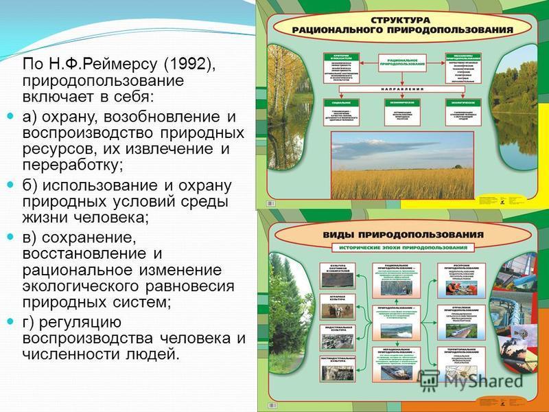 По Н.Ф.Реймерсу (1992), природопользование включает в себя: а) охрану, возобновление и воспроизводство природных ресурсов, их извлечение и переработку; б) использование и охрану природных условий среды жизни человека; в) сохранение, восстановление и