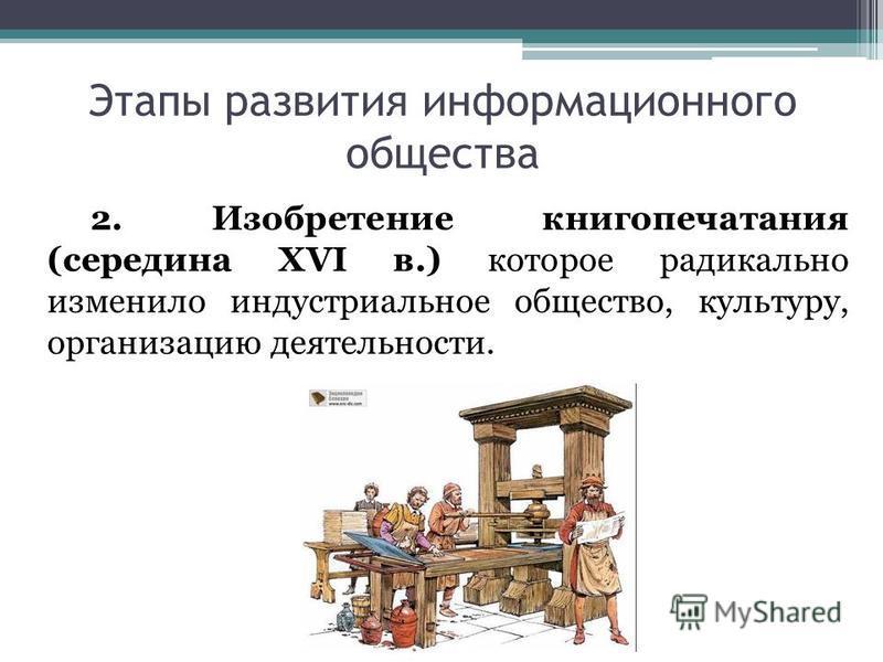 Этапы развития информационного общества 2. Изобретение книгопечатания (середина XVI в.) которое радикально изменило индустриальное общество, культуру, организацию деятельности.