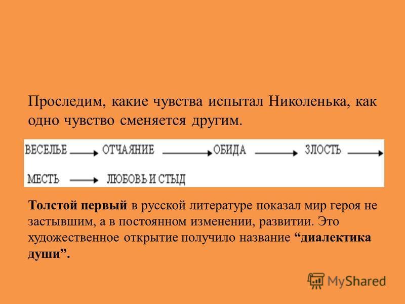 Проследим, какие чувства испытал Николенька, как одно чувство сменяется другим. Толстой первый в русской литературе показал мир героя не застывшим, а в постоянном изменении, развитии. Это художественное открытие получило название диалектика души.