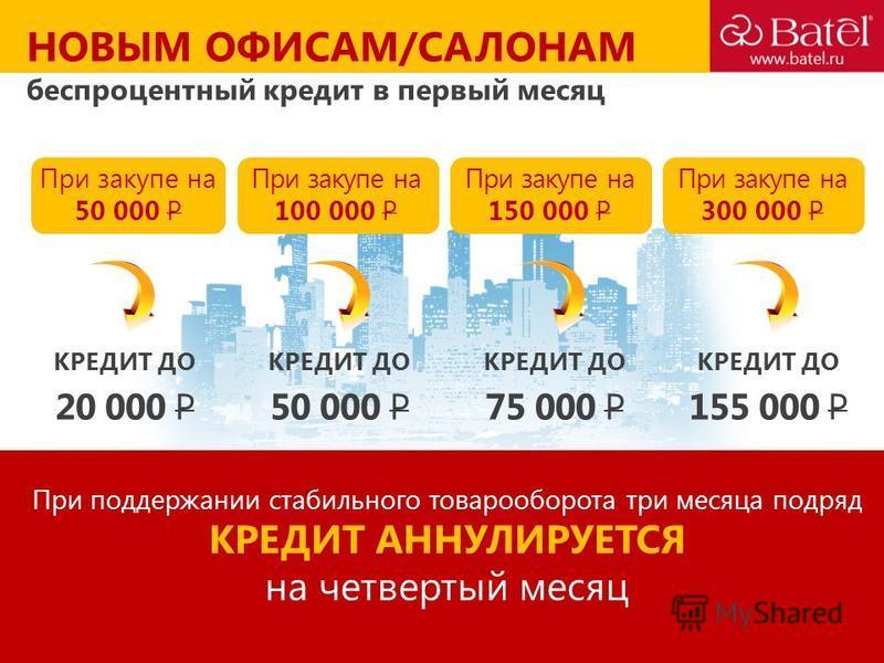 НОВЫМ ОФИСАМ/САЛОНАМ беспроцентный кредит в первый месяц При закупе на 50 000 P КРЕДИТ ДО При поддержании стабильного товарооборота три месяца подряд КРЕДИТ АННУЛИРУЕТСЯ на четвертый месяц При закупе на 100 000 P При закупе на 150 000 P При закупе на