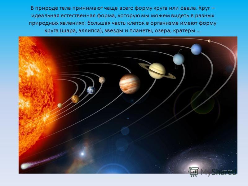В природе тела принимают чаще всего форму круга или овала. Круг – идеальная естественная форма, которую мы можем видеть в разных природных явлениях: большая часть клеток в организме имеют форму круга (шара, эллипса), звезды и планеты, озера, кратеры
