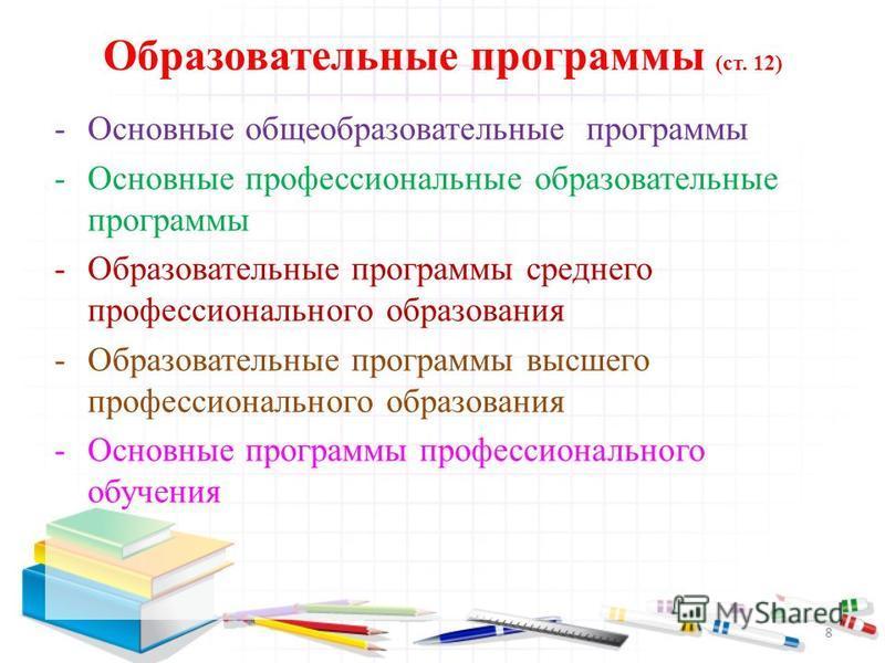 Образовательные программы (ст. 12) -Основные общеобразовательные программы -Основные профессиональные образовательные программы -Образовательные программы среднего профессионального образования -Образовательные программы высшего профессионального обр