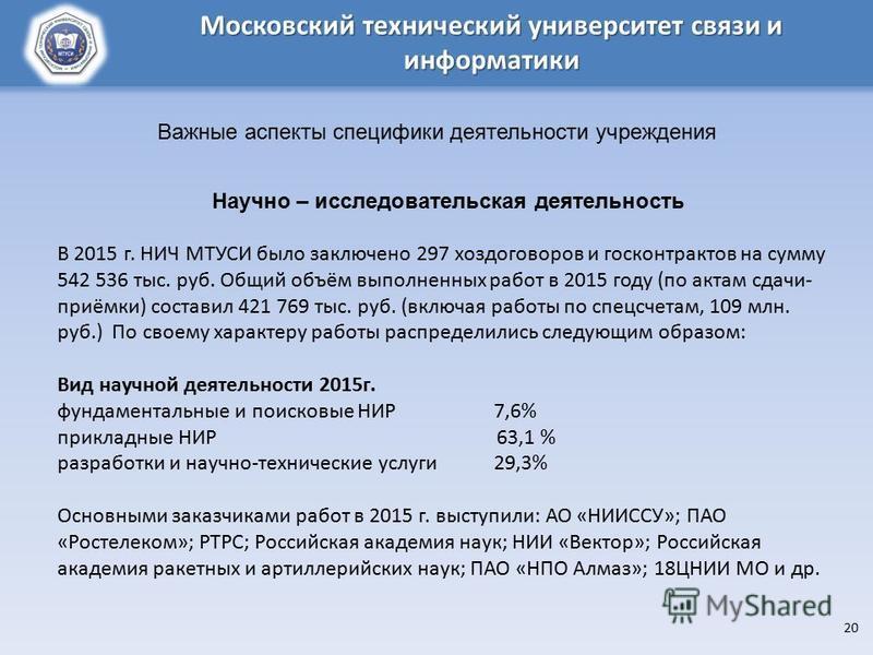Московский технический университет связи и информатики Научно – исследовательская деятельность В 2015 г. НИЧ МТУСИ было заключено 297 хоздоговоров и госконтрактов на сумму 542 536 тыс. руб. Общий объём выполненных работ в 2015 году (по актам сдачи- п