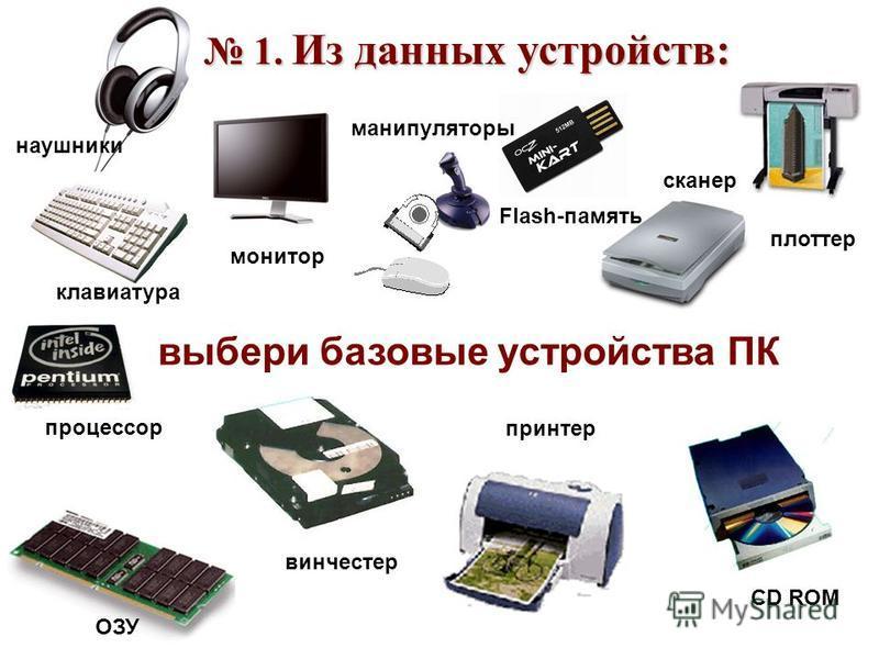 1. Из данных устройств: 1. Из данных устройств: выбери базовые устройства ПК наушники клавиатура процессор ОЗУ монитор манипуляторы Flash-память сканер плоттер винчестер принтер CD ROM