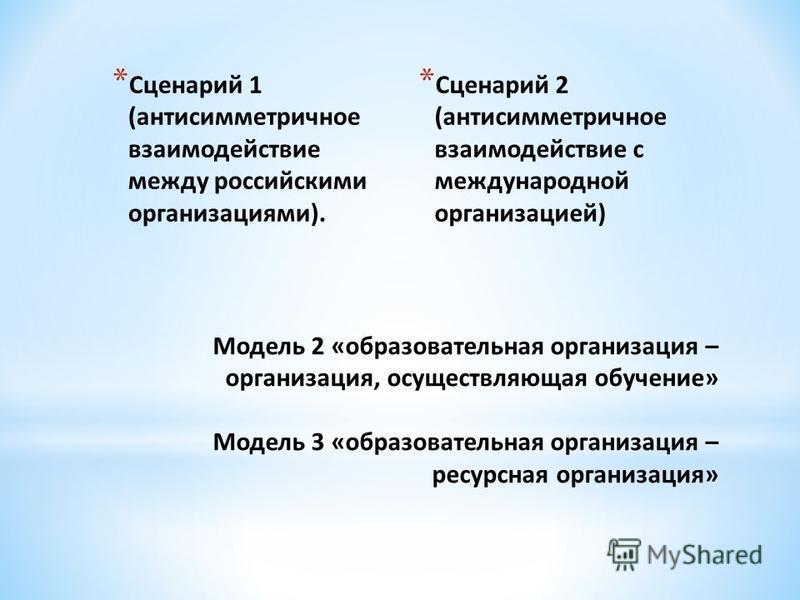 * Сценарий 1 (антисимметричное взаимодействие между российскими организациями). * Сценарий 2 (антисимметричное взаимодействие с международной организацией)