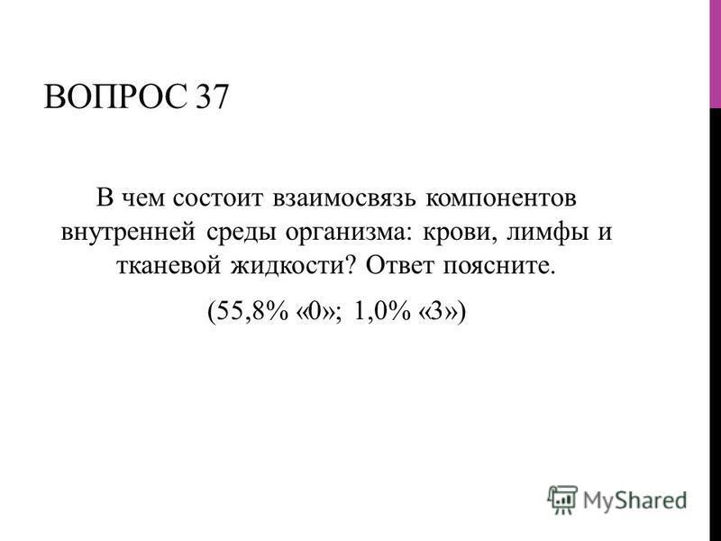 ВОПРОС 37 В чем состоит взаимосвязь компонентов внутренней среды организма: крови, лимфы и тканевой жидкости? Ответ поясните. (55,8% «0»; 1,0% «3»)