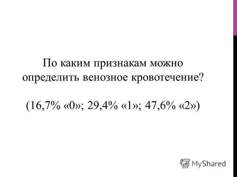 По каким признакам можно определить венозное кровотечение? (16,7% «0»; 29,4% «1»; 47,6% «2»)