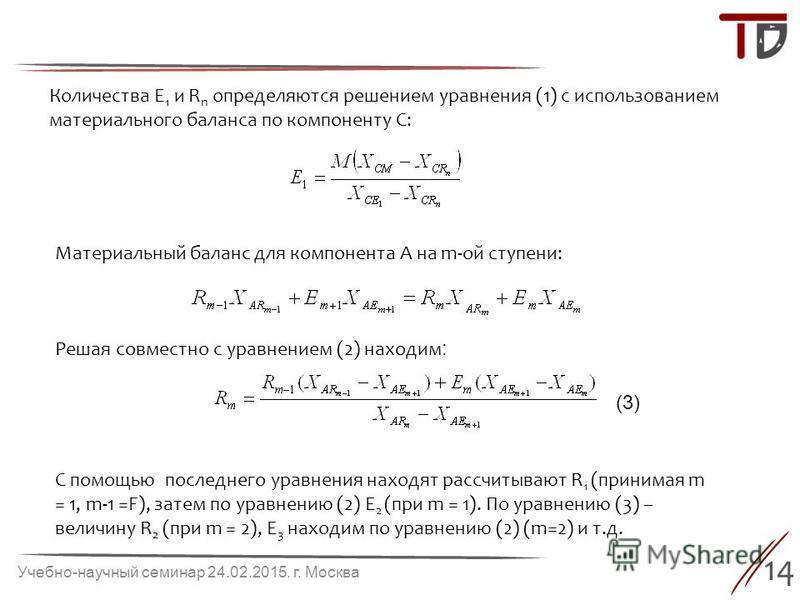 14 Учебно-научный семинар 24.02.2015. г. Москва Количества E 1 и R n определяются решением уравнения (1) с использованием материального баланса по компоненту С: Материальный баланс для компонента A на m-ой ступени: Решая совместно с уравнением (2) на