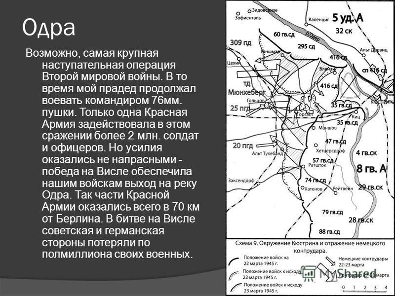 Одра Возможно, самая крупная наступательная операция Второй мировой войны. В то время мой прадед продолжал воевать командиром 76 мм. пушки. Только одна Красная Армия задействовала в этом сражении более 2 млн. солдат и офицеров. Но усилия оказались не