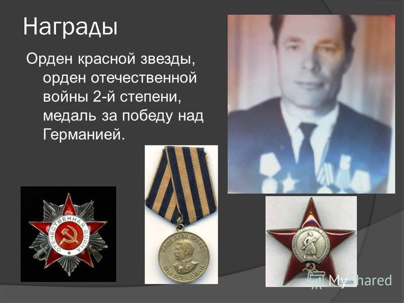 Награды Орден красной звезды, орден отечественной войны 2-й степени, медаль за победу над Германией.