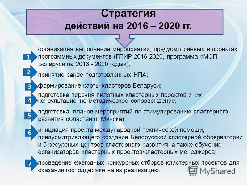организация выполнения мероприятий, предусмотренных в проектах программных документов (ГПИР 2016-2020, программа «МСП Беларуси на 2016 - 2020 годы»); принятие ранее подготовленных НПА; формирование карты кластеров Беларуси; подготовка перечня пилотны
