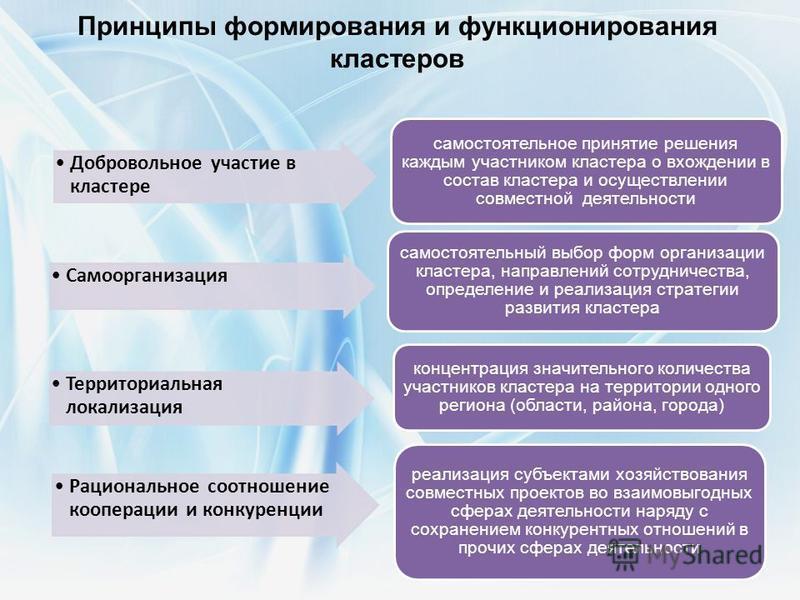 Принципы формирования и функционирования кластеров Рациональное соотношение кооперации и конкуренции реализация субъектами хозяйствования совместных проектов во взаимовыгодных сферах деятельности наряду с сохранением конкурентных отношений в прочих с