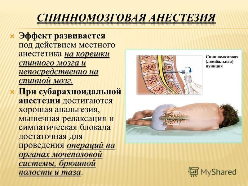 на корешки спинного мозга и непосредственно на спинной мозг. Эффект развивается под действием местного анестетика на корешки спинного мозга и непосредственно на спинной мозг. операций на органах мочеполовой системы, брюшной полости и таза При субарах