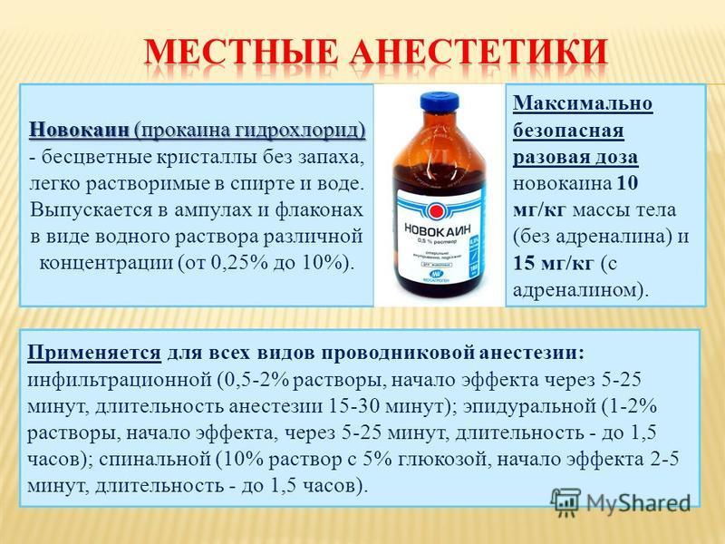 Новокаин (прокаина гидрохлорид) Новокаин (прокаина гидрохлорид) - бесцветные кристаллы без запаха, легко растворимые в спирте и воде. Выпускается в ампулах и флаконах в виде водного раствора различной концентрации (от 0,25% до 10%). Применяется для в