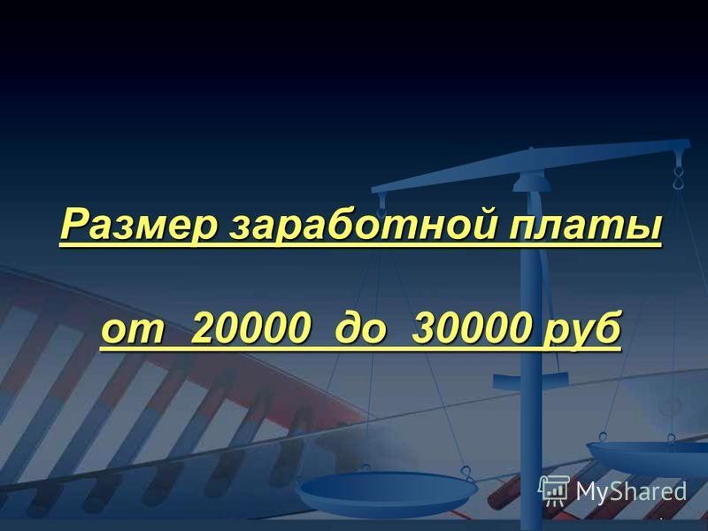 Размер заработной платы от 20000 до 30000 руб