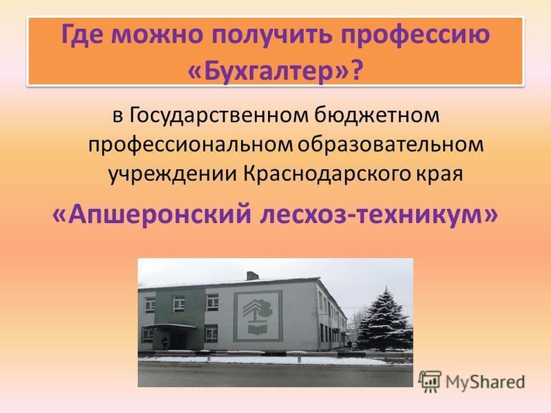 Где можно получить профессию «Бухгалтер»? в Государственном бюджетном профессиональном образовательном учреждении Краснодарского края «Апшеронский лесхоз-техникум»