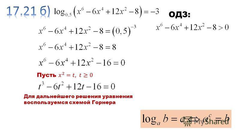 Для дальнейшего решения уравнения воспользуемся схемой Горнера
