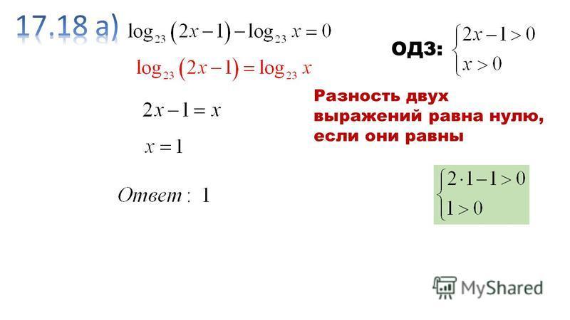ОДЗ: Разность двух выражений равна нулю, если они равны