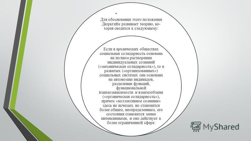 Для обоснования этого положения Дюркгейм развивает теорию, ко торая сводится к следующему: Если в архаических обществах социальная солидарность основана на полном растворении индивидуальных сознаний («механическая солидарность»), то в развитых («ор