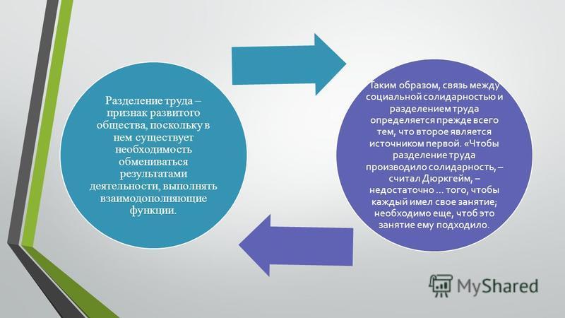 Разделение труда – признак развитого общества, поскольку в нем существует необходимость обмениваться результатами деятельности, выполнять взаимодополняющие функции. Таким образом, связь между социальной солидарностью и разделением труда определяется