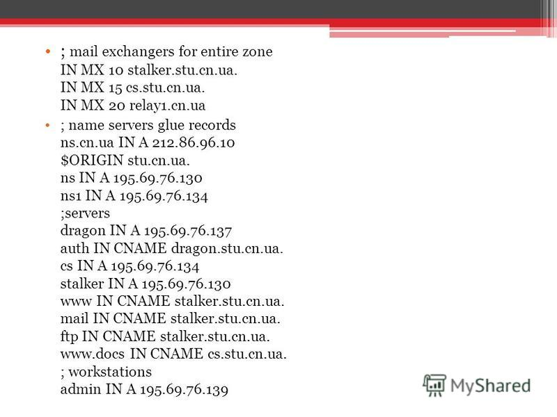 ; mail exchangers for entire zone IN MX 10 stalker.stu.cn.ua. IN MX 15 cs.stu.cn.ua. IN MX 20 relay1.cn.ua ; name servers glue records ns.cn.ua IN A 212.86.96.10 $ORIGIN stu.cn.ua. ns IN A 195.69.76.130 ns1 IN A 195.69.76.134 ;servers dragon IN A 195
