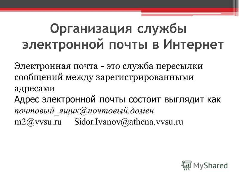 Организация службы электронной почты в Интернет Электронная почта - это служба пересылки сообщений между зарегистрированными адресами Адрес электронной почты состоит выглядит как почтовый_ящик@почтовый.домен m2@vvsu.ru Sidor.Ivanov@athena.vvsu.ru