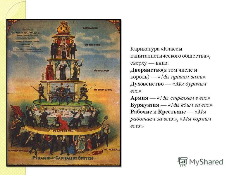 Карикатура «Классы капиталистического общества», сверху вниз: Дворянство(в том числе и король) «Мы правим вами» Духовенство «Мы дурачим вас» Армия «Мы стреляем в вас» Буржуазия «Мы едим за вас» Рабочие и Крестьяне «Мы работаем за всех», «Мы кормим вс