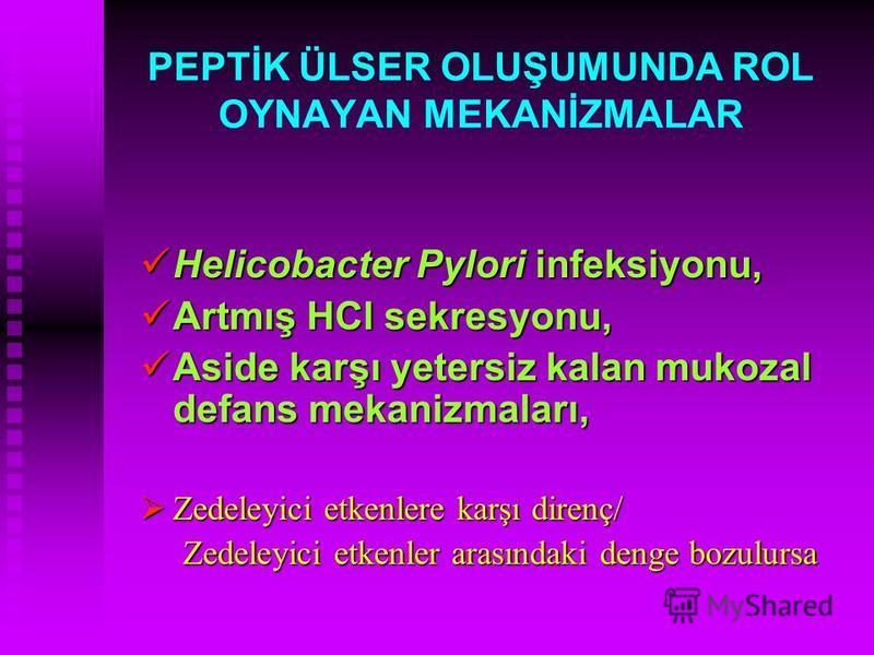 PEPTİK ÜLSER OLUŞUMUNDA ROL OYNAYAN MEKANİZMALAR Helicobacter Pylori infeksiyonu, Helicobacter Pylori infeksiyonu, Artmış HCl sekresyonu, Artmış HCl sekresyonu, Aside karşı yetersiz kalan mukozal defans mekanizmaları, Aside karşı yetersiz kalan mukoz