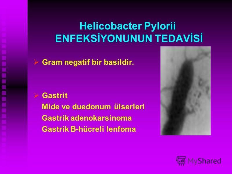 Helicobacter Pylorii ENFEKSİYONUNUN TEDAVİSİ Gram negatif bir basildir. Gastrit Mide ve duedonum ülserleri Gastrik adenokarsinoma Gastrik B-hücreli lenfoma